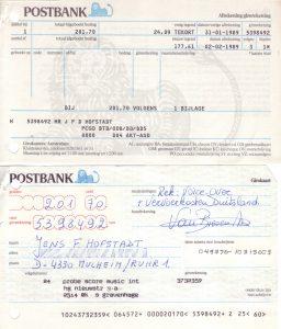 Probe Score Music Quittung 1989